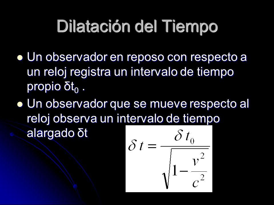 Dilatación del Tiempo Un observador en reposo con respecto a un reloj registra un intervalo de tiempo propio δt0 .