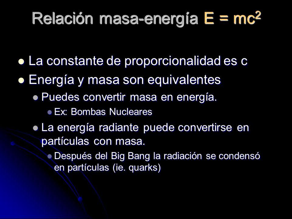 Relación masa-energía E = mc2