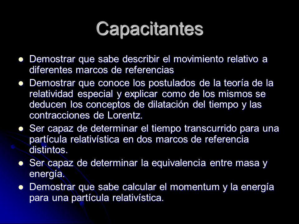 Capacitantes Demostrar que sabe describir el movimiento relativo a diferentes marcos de referencias.