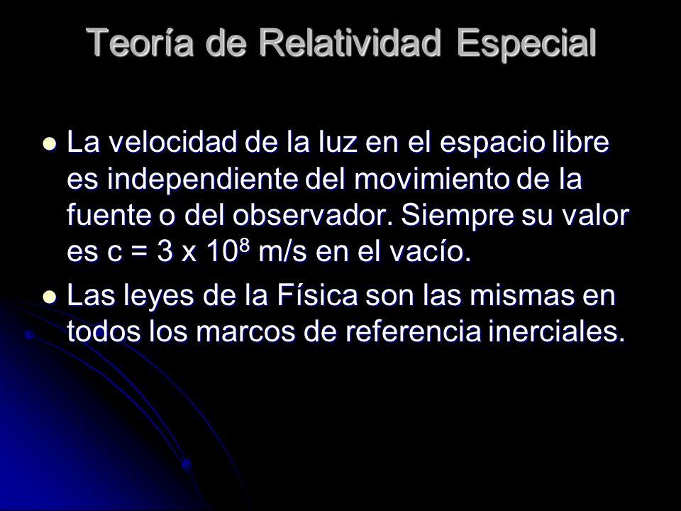 Teoría de Relatividad Especial