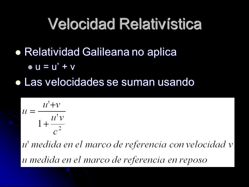 Velocidad Relativística