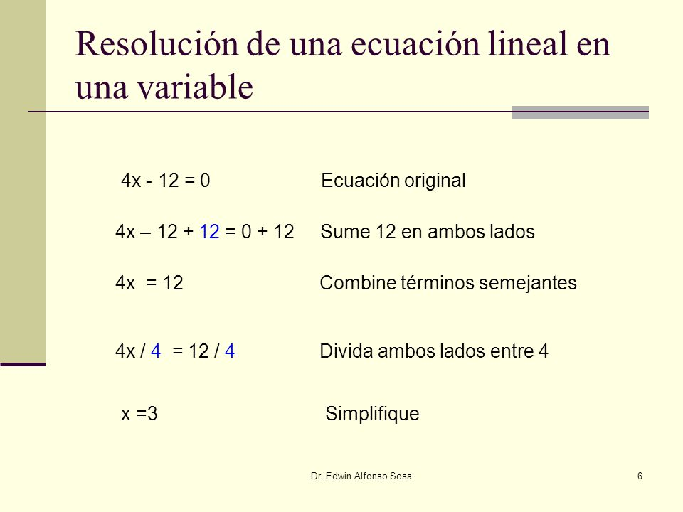 Resolución de una ecuación lineal en una variable
