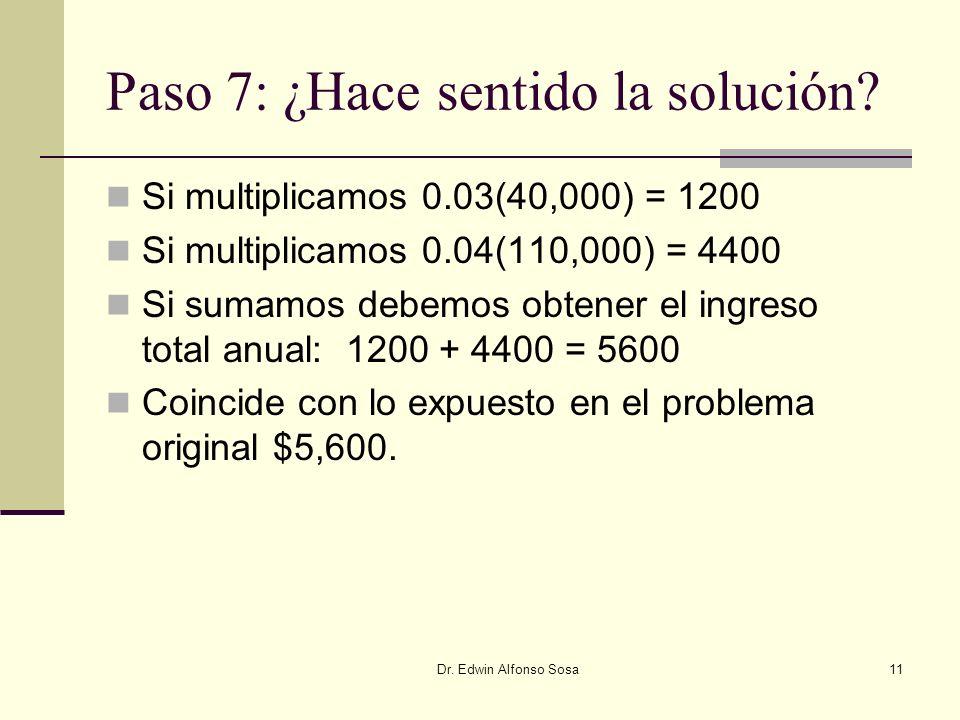 Paso 7: ¿Hace sentido la solución