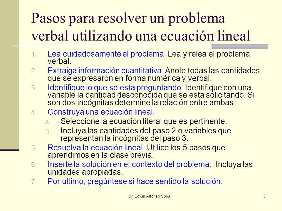 Pasos para resolver un problema verbal utilizando una ecuación lineal