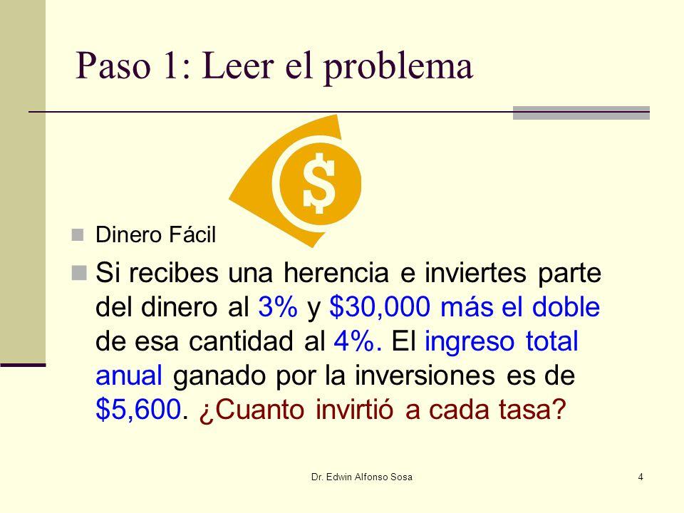Paso 1: Leer el problema Dinero Fácil.