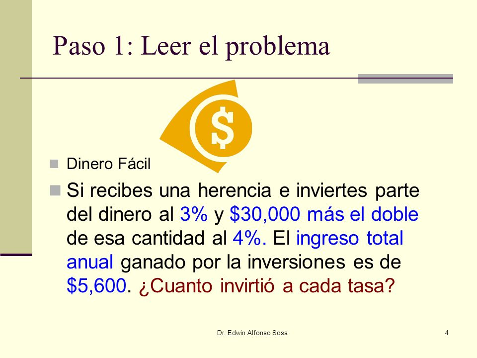 Paso 1: Leer el problemaDinero Fácil.