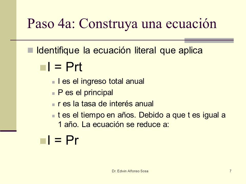 Paso 4a: Construya una ecuación