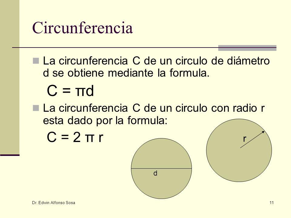 Circunferencia C = πd C = 2 π r