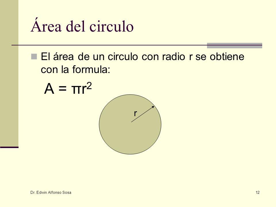 Área del circulo El área de un circulo con radio r se obtiene con la formula: A = πr2.