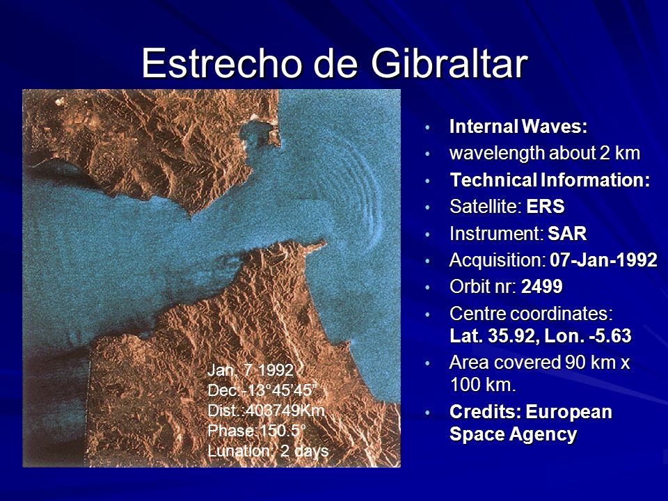 Estrecho de Gibraltar Internal Waves: wavelength about 2 km