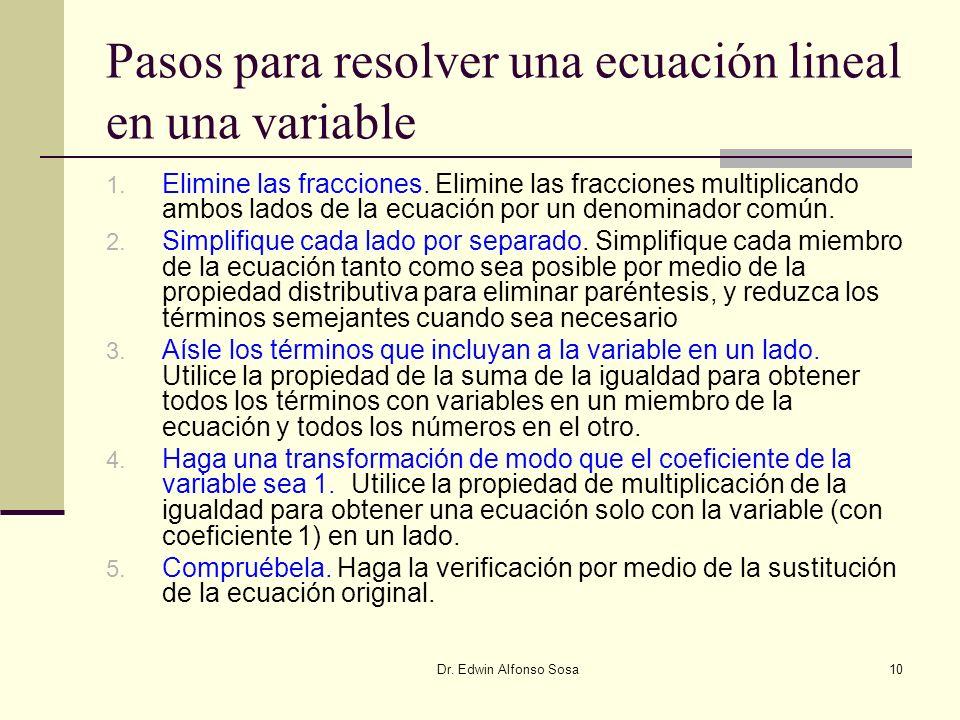 Pasos para resolver una ecuación lineal en una variable