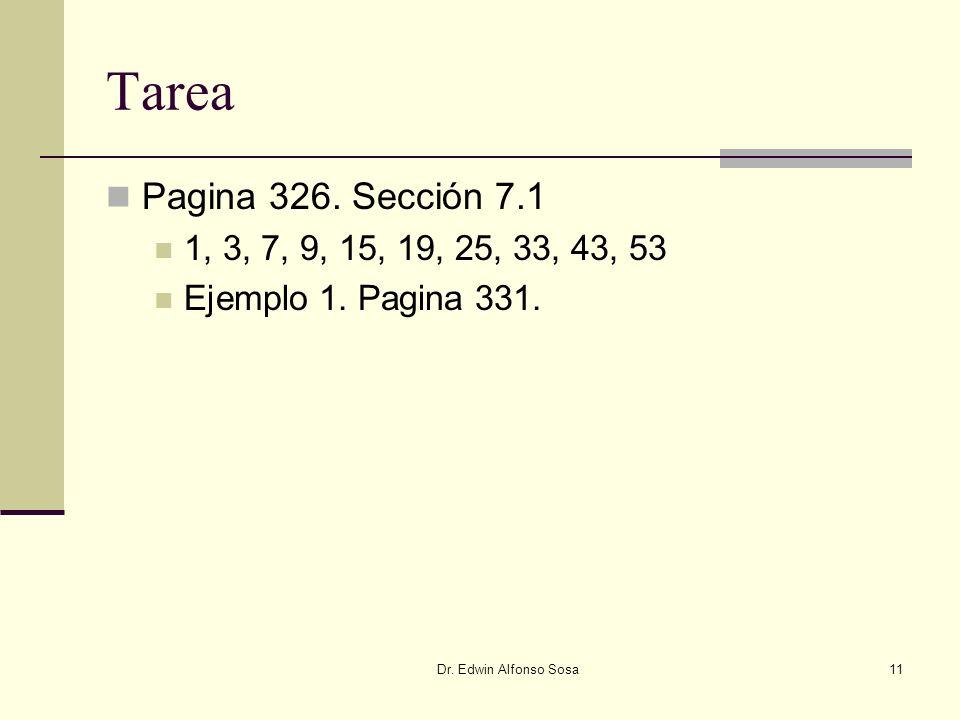 Tarea Pagina 326. Sección 7.1. 1, 3, 7, 9, 15, 19, 25, 33, 43, 53.