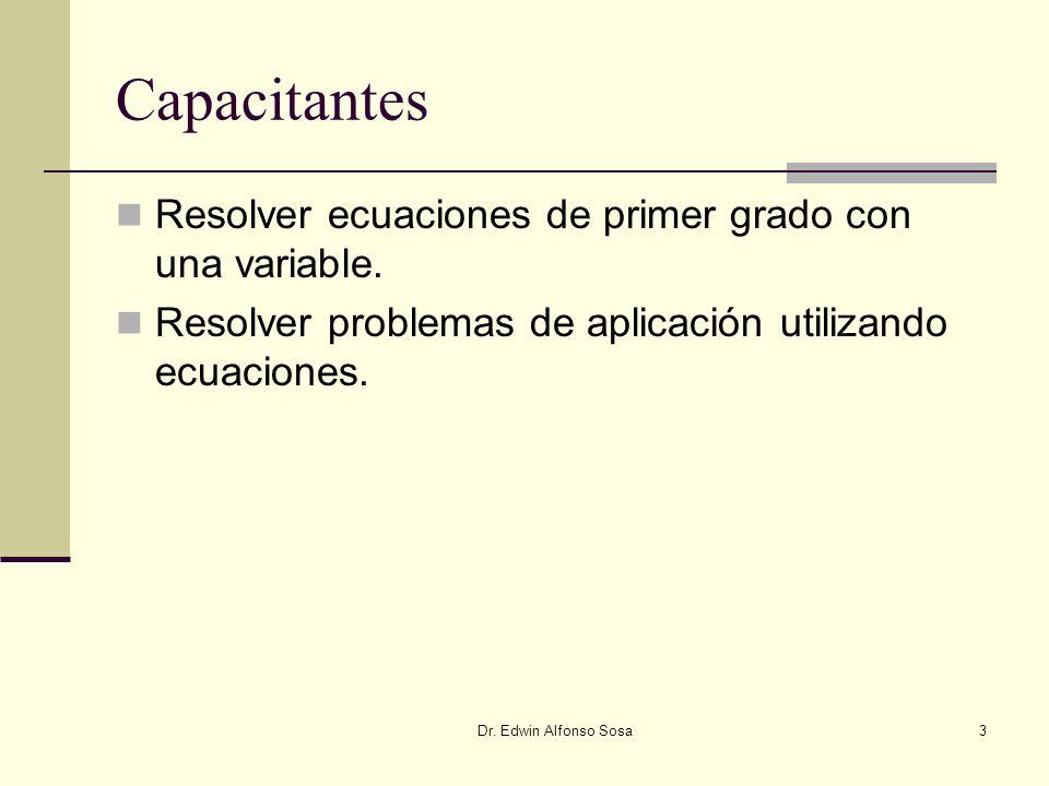 Capacitantes Resolver ecuaciones de primer grado con una variable.