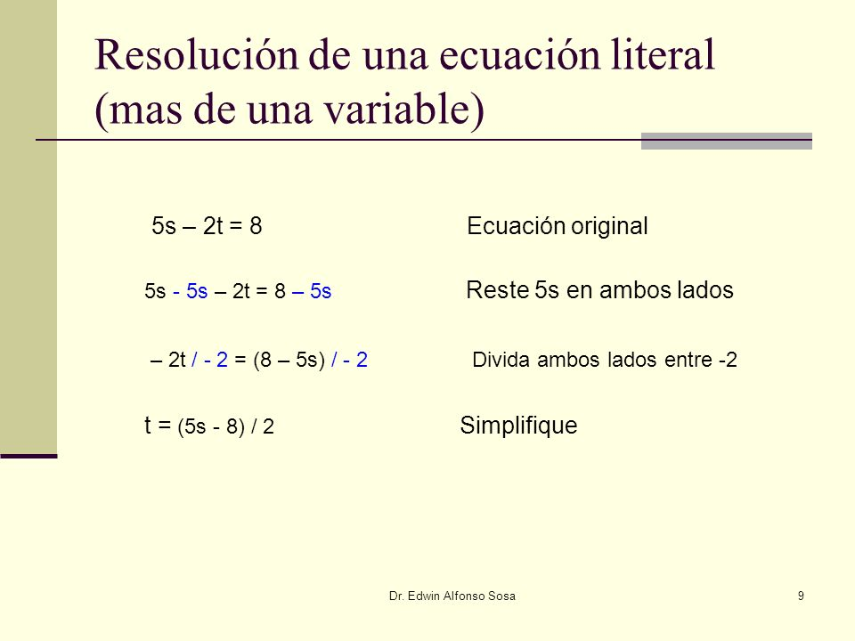 Resolución de una ecuación literal (mas de una variable)