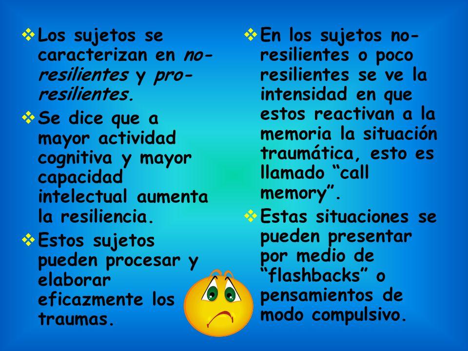 Los sujetos se caracterizan en no-resilientes y pro-resilientes.