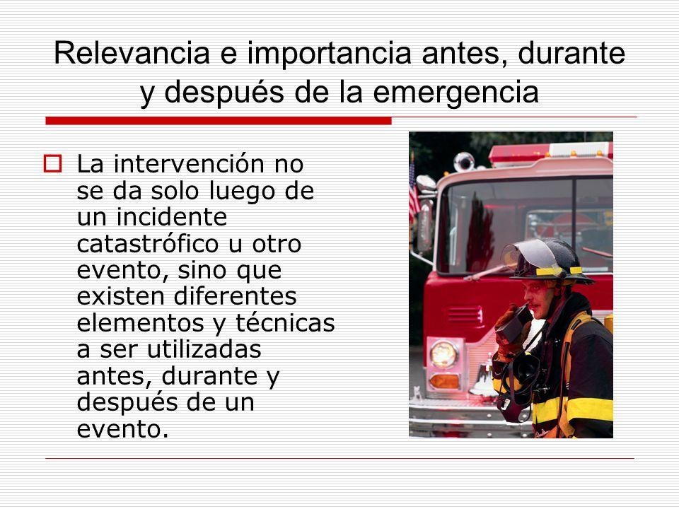 Relevancia e importancia antes, durante y después de la emergencia