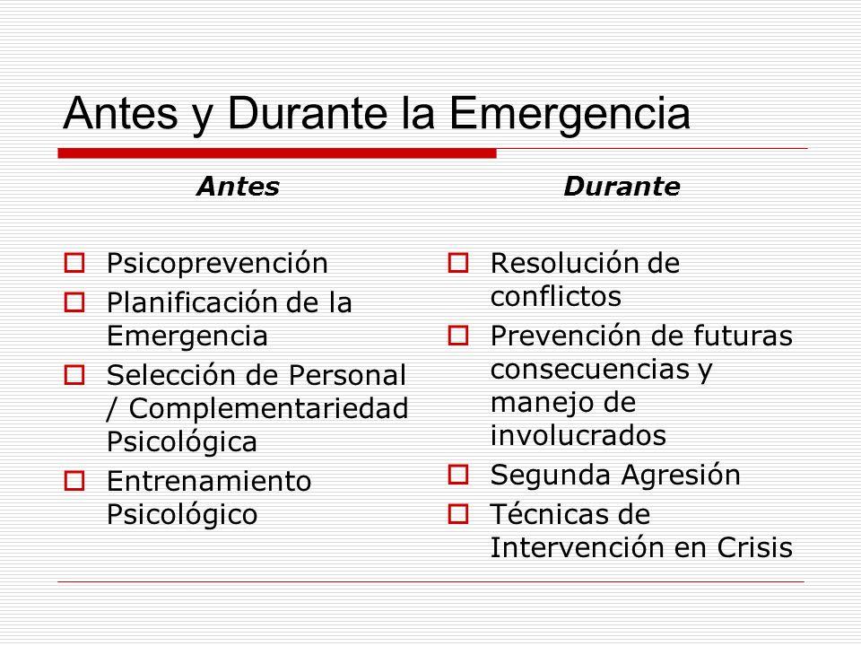 Antes y Durante la Emergencia