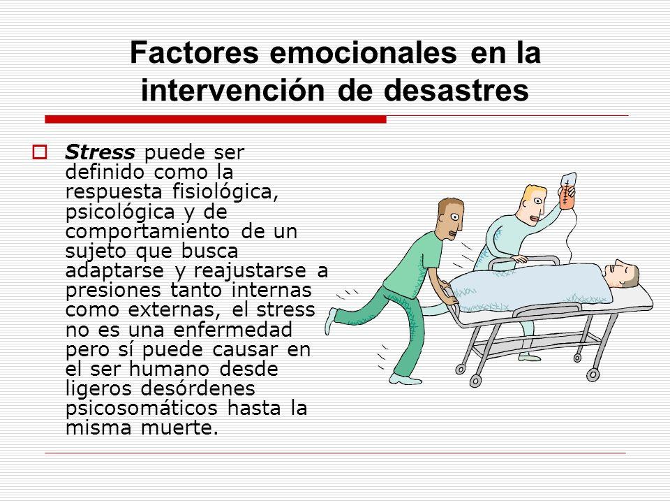 Factores emocionales en la intervención de desastres