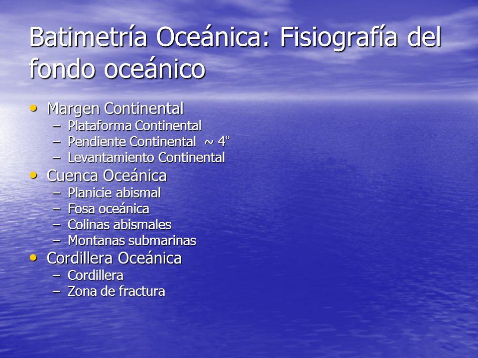 Batimetría Oceánica: Fisiografía del fondo oceánico