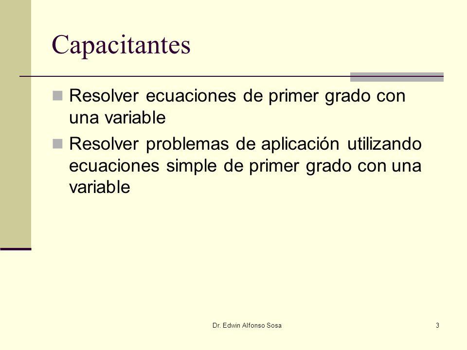 Capacitantes Resolver ecuaciones de primer grado con una variable