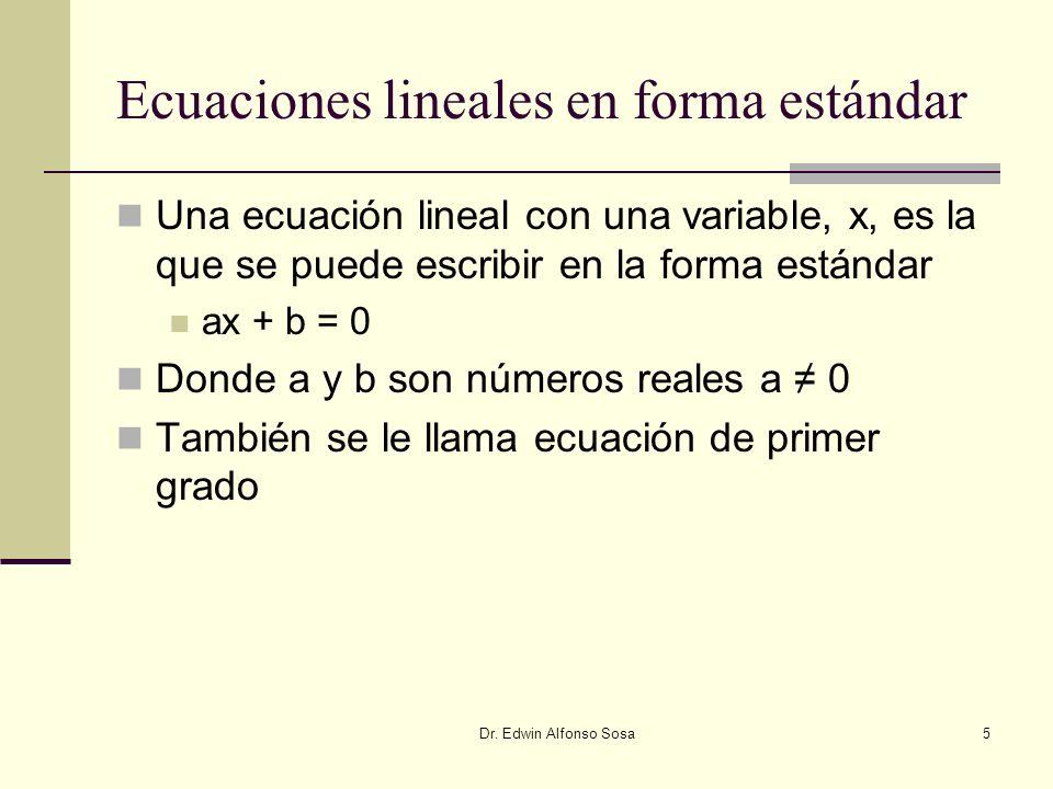 Ecuaciones lineales en forma estándar
