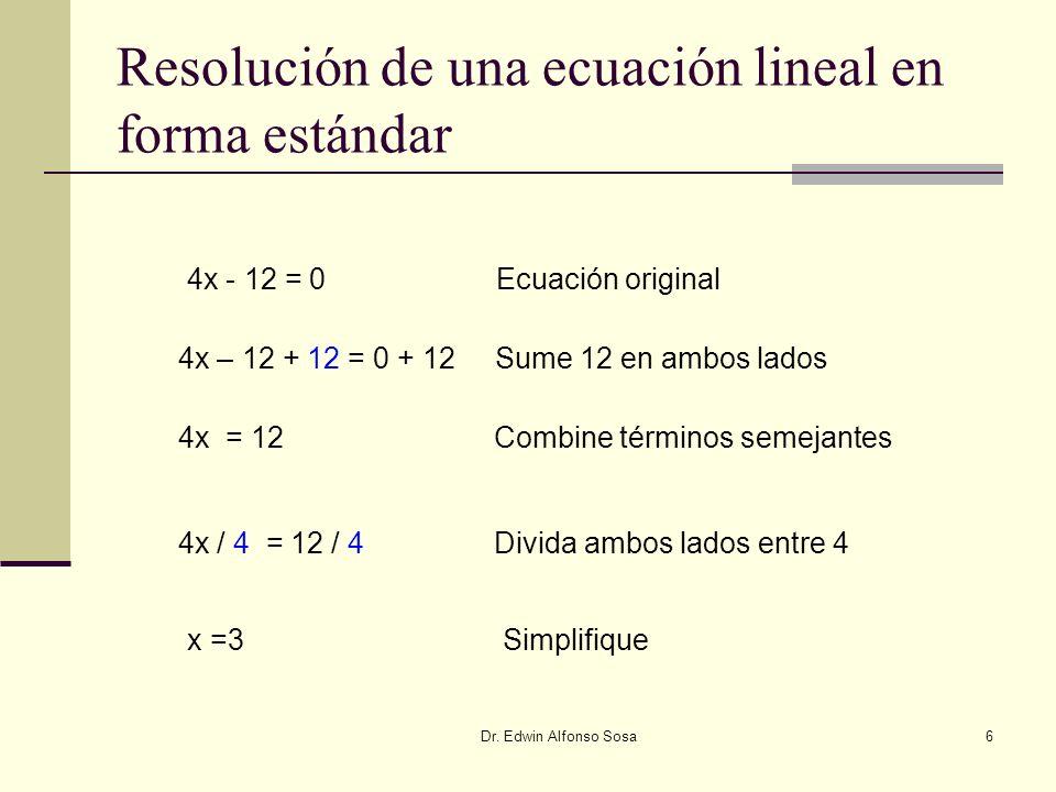 Resolución de una ecuación lineal en forma estándar