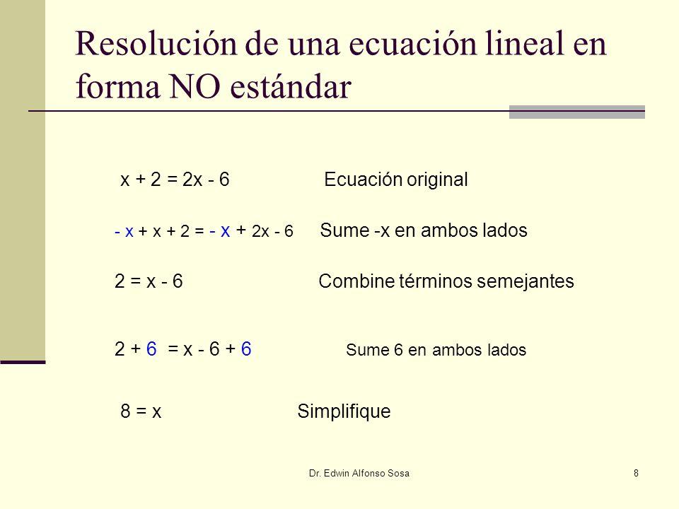 Resolución de una ecuación lineal en forma NO estándar