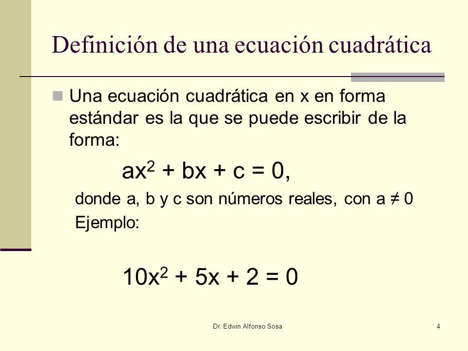 Definición de una ecuación cuadrática