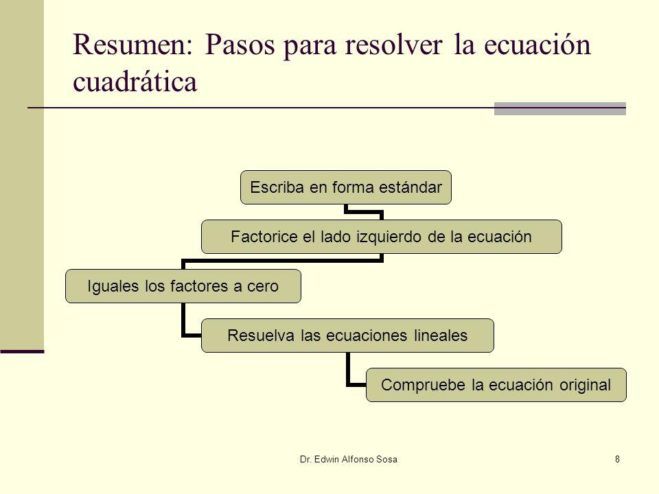 Resumen: Pasos para resolver la ecuación cuadrática