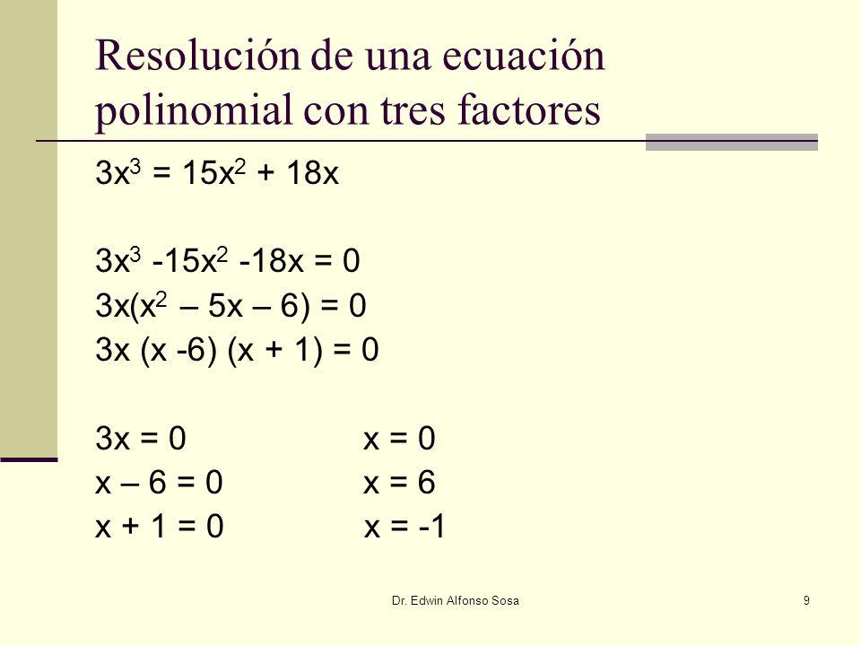 Resolución de una ecuación polinomial con tres factores