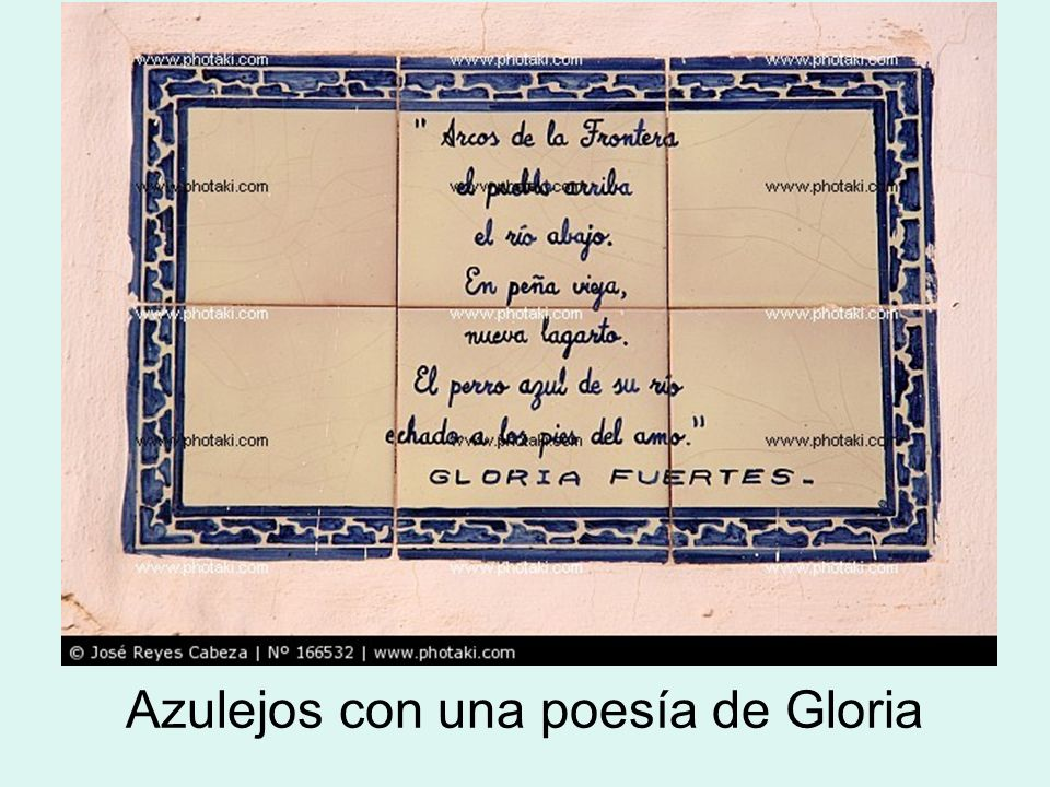 Azulejos con una poesía de Gloria