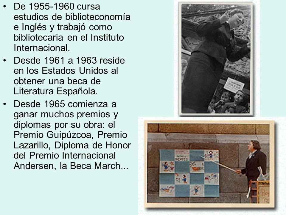 De 1955-1960 cursa estudios de biblioteconomía e Inglés y trabajó como bibliotecaria en el Instituto Internacional.