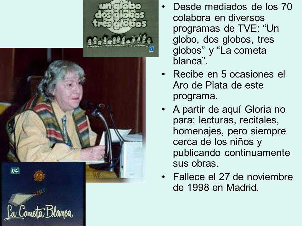Desde mediados de los 70 colabora en diversos programas de TVE: Un globo, dos globos, tres globos y La cometa blanca .