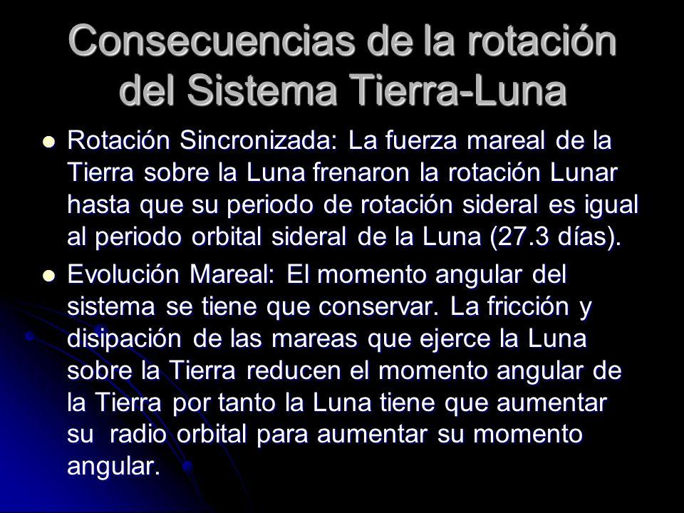 Consecuencias de la rotación del Sistema Tierra-Luna