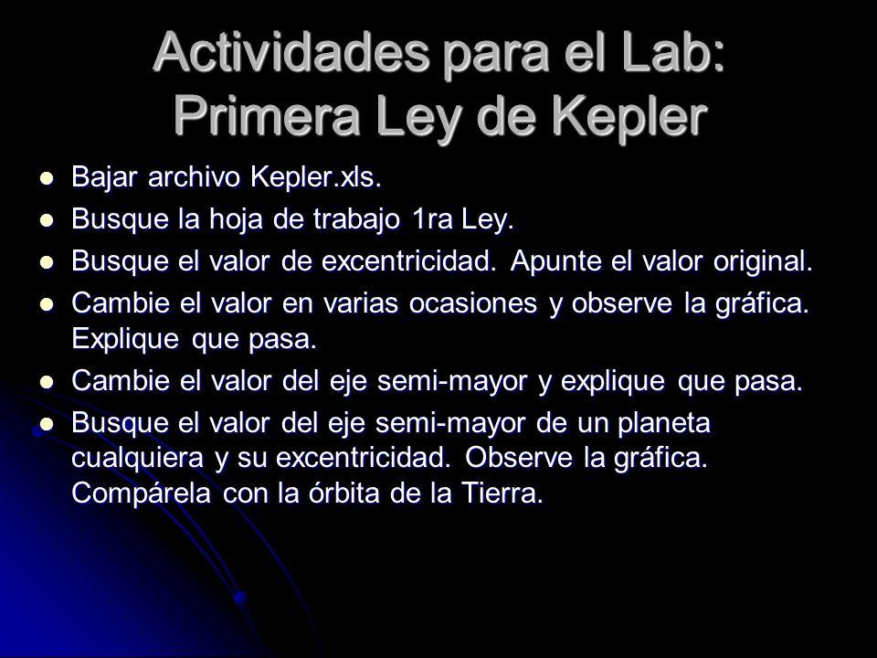 Actividades para el Lab: Primera Ley de Kepler