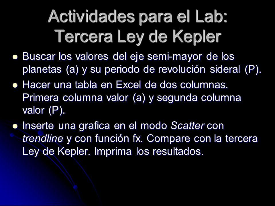 Actividades para el Lab: Tercera Ley de Kepler
