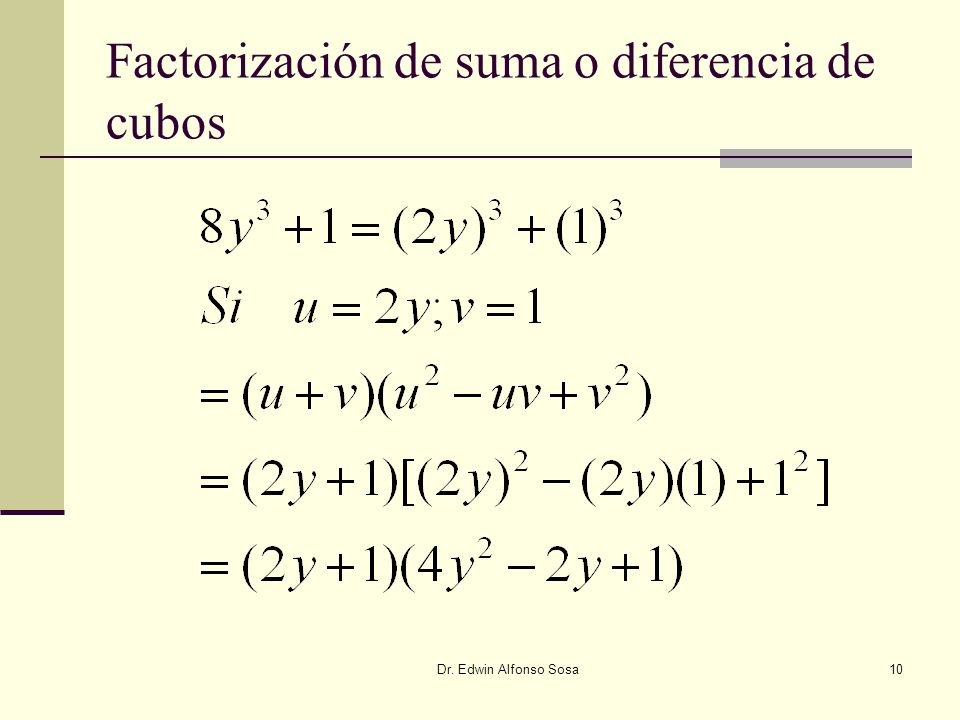 Factorización de suma o diferencia de cubos