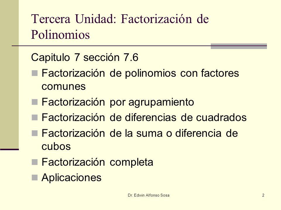 Tercera Unidad: Factorización de Polinomios