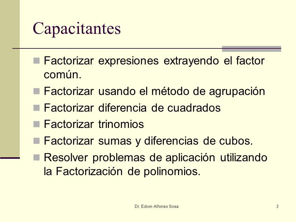 Capacitantes Factorizar expresiones extrayendo el factor común.