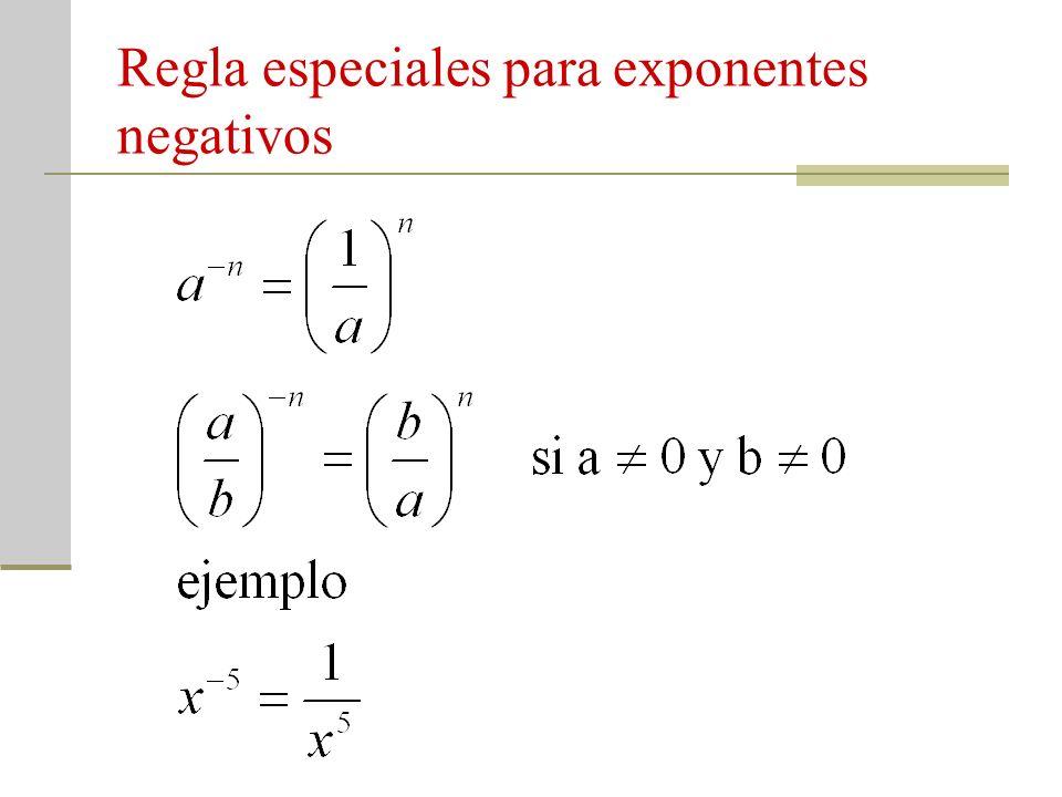 Regla especiales para exponentes negativos