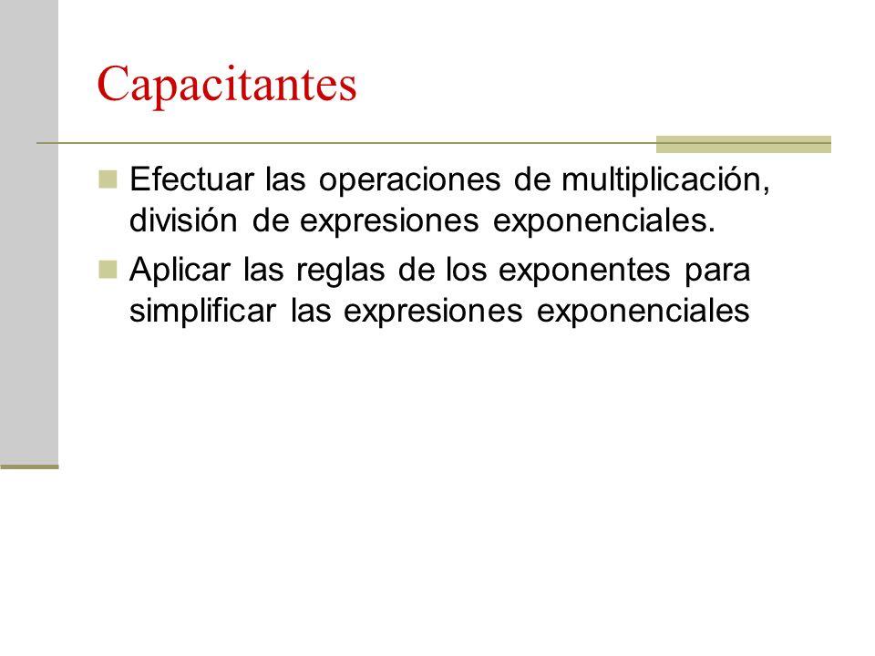 Capacitantes Efectuar las operaciones de multiplicación, división de expresiones exponenciales.