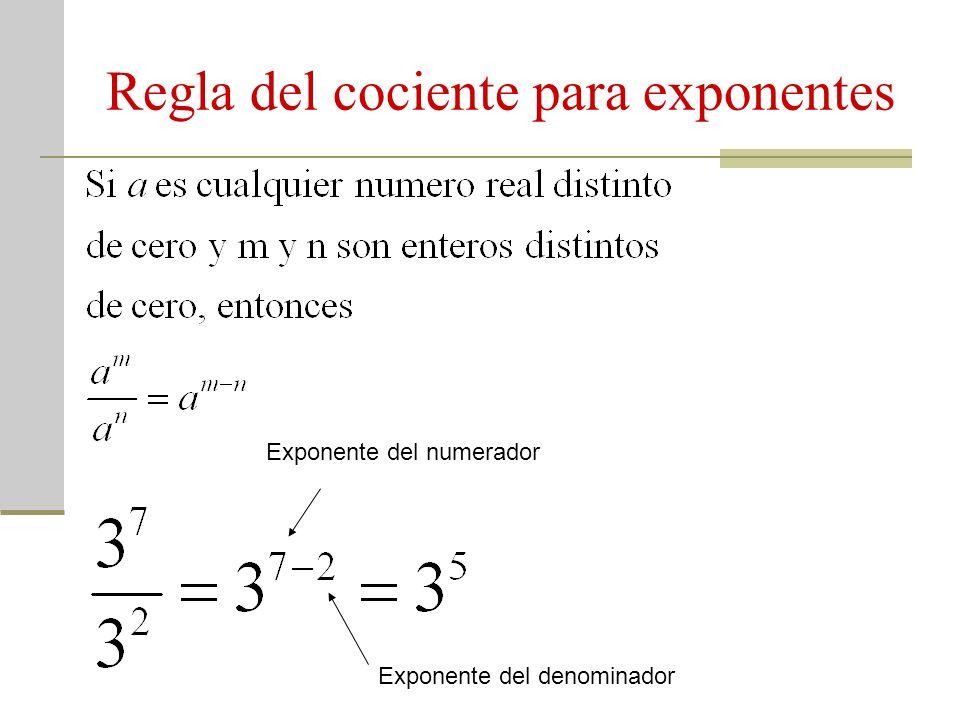 Regla del cociente para exponentes