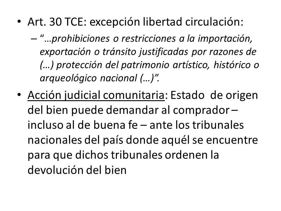 Art. 30 TCE: excepción libertad circulación: