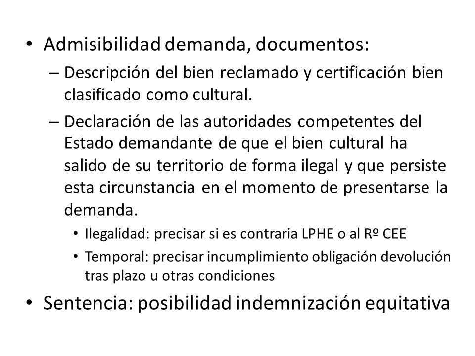 Admisibilidad demanda, documentos: