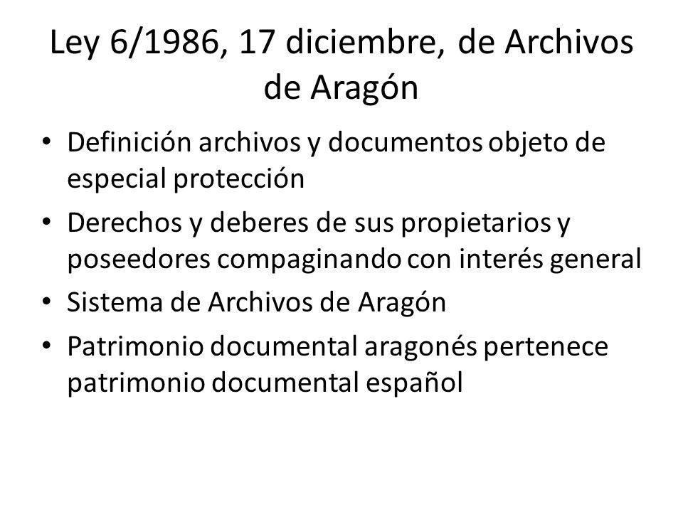 Ley 6/1986, 17 diciembre, de Archivos de Aragón