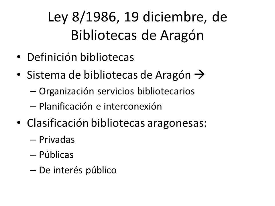 Ley 8/1986, 19 diciembre, de Bibliotecas de Aragón