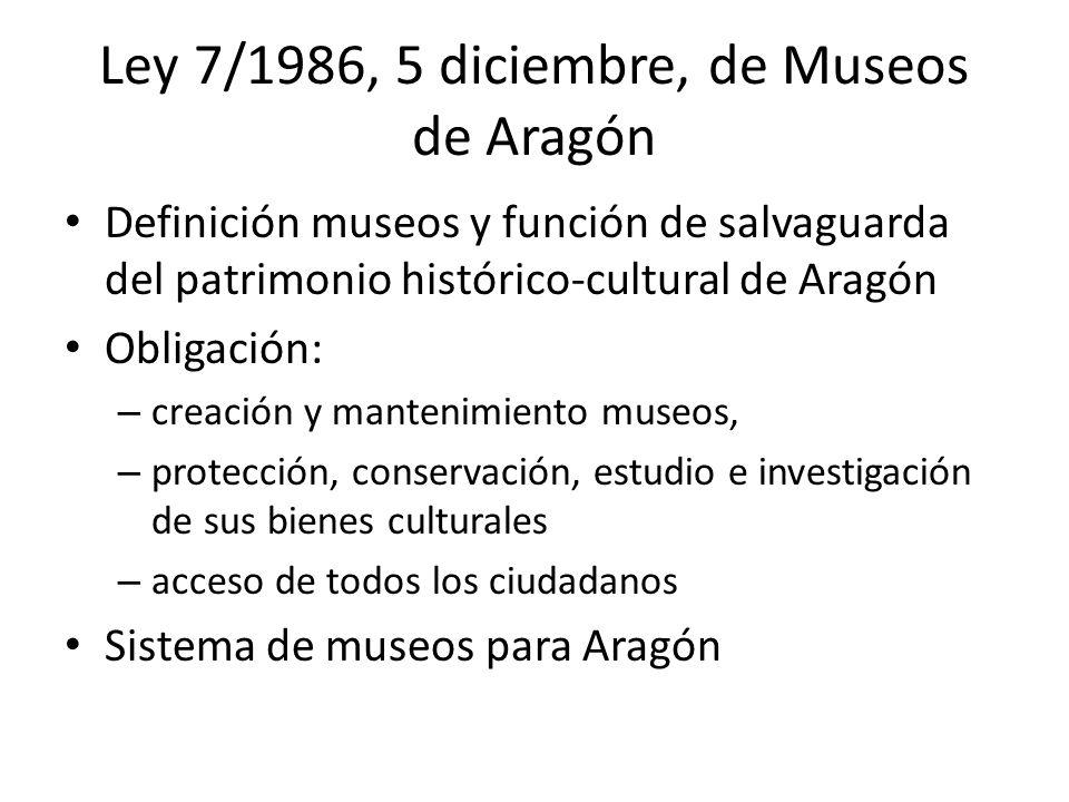 Ley 7/1986, 5 diciembre, de Museos de Aragón