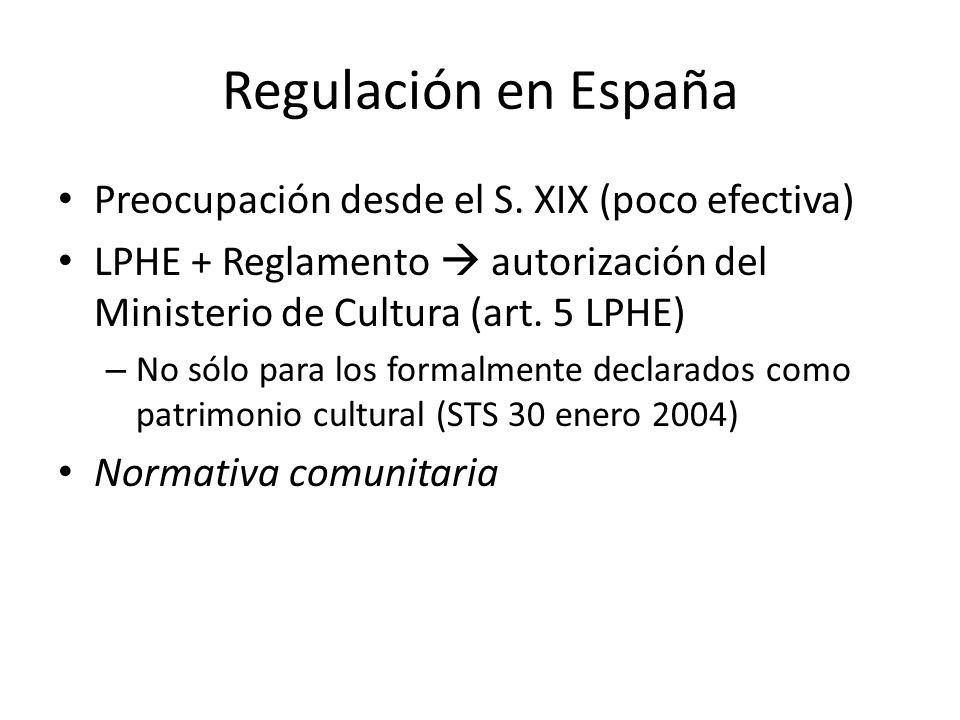 Regulación en España Preocupación desde el S. XIX (poco efectiva)