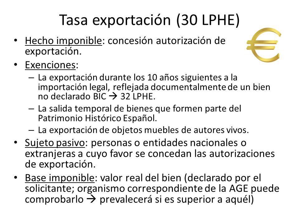 Tasa exportación (30 LPHE)