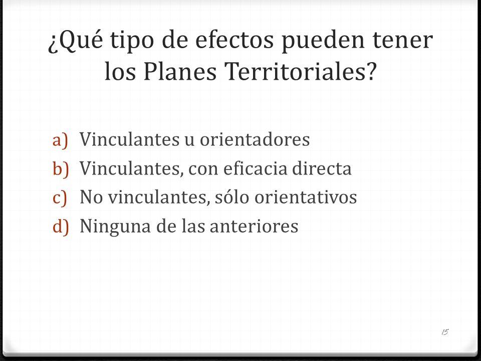 ¿Qué tipo de efectos pueden tener los Planes Territoriales